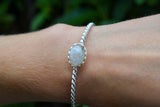 925 Silver Single-Stranded Rainbow Moonstone Bracelet
