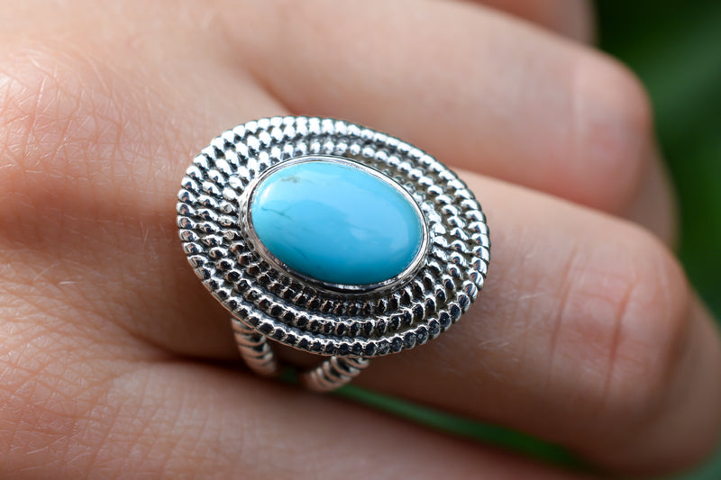 925 Silver Turquoise Decorated Oval Ring