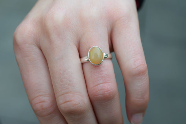 925 Silver Small Circular Yellow Opal Ring