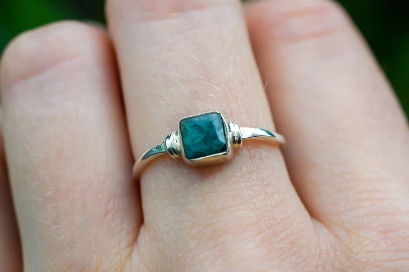 925 Silver Small Square Emerald Ring
