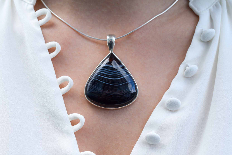 925 Silver Natural Black Onyx Pendant