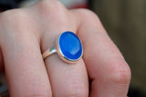 925 Silver Blue Agate Small Oval Ring