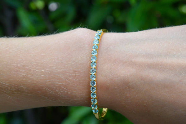 925 Silver Gold-Plated Blue Zirconia with Stainless Steel Hinge