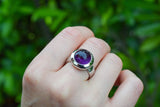 925 Silver Ring with a Circular Amethyst