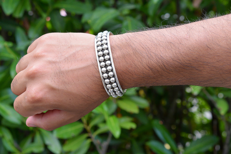 925 Silver Decorated Heavy Bracelet Unisex
