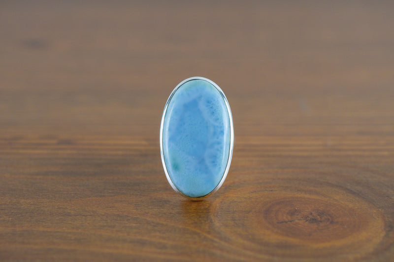 925 Silver Large Oval Larimar Ring