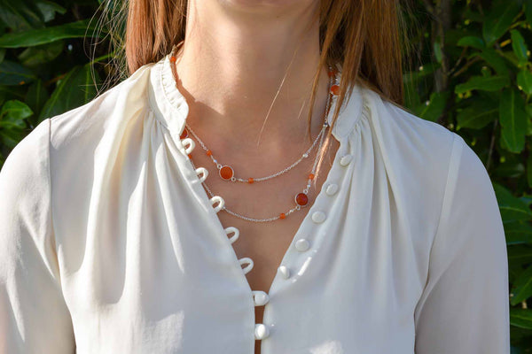 925 Silver Drop-Shaped Red Agate Long Necklace