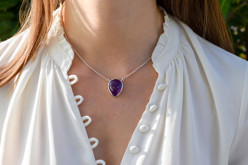925 Silver Drop-Shaped Amethyst Pendant with chain