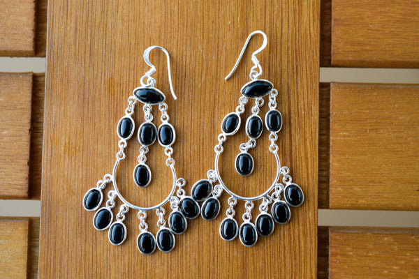 925 Silver Black Onyx Dangling Indian-Style Earrings