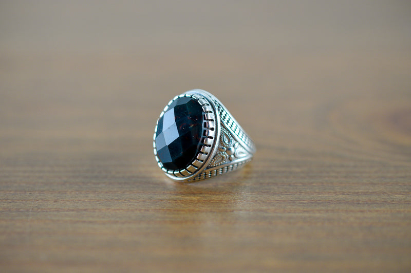 925 Silver Decorated Facetted Bloodstone Ring