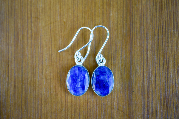 925 Silver Sapphire Oval Earrings