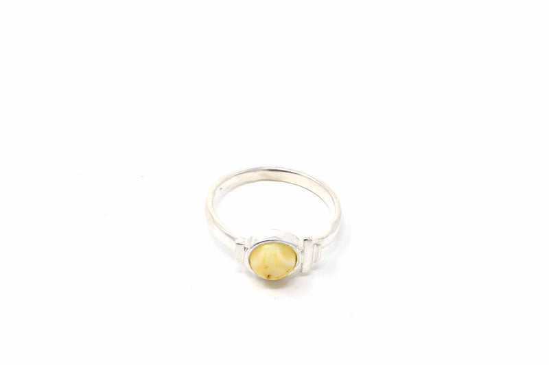 925 Silver Small Circular White Amber Ring
