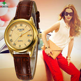 Casual Gold  Leather Wristwatch