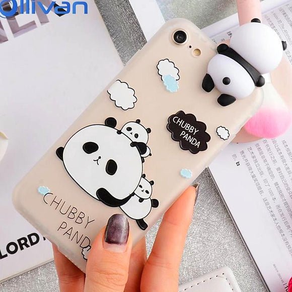 3D Cute Panda Case iPhone 6 6s 8 7 Plus X