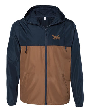 DCW Water-Resistant Windbreaker Pullover Navy/ Saddle