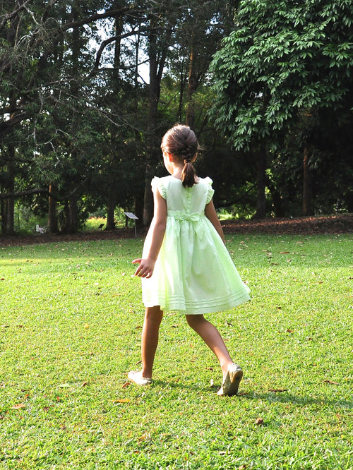Light Lime Green Smock Dress - vsolochildren