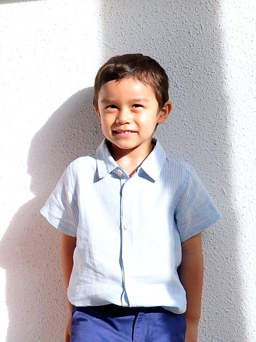 Linen Shirt Short Sleeves Blue - vsolochildren