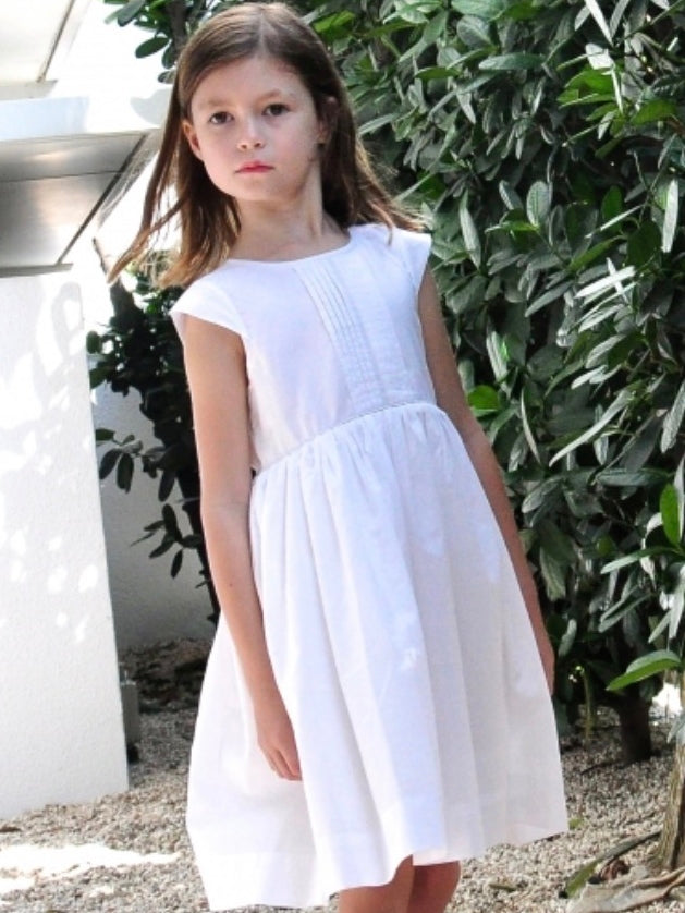 Front Pleated Cotton White - Out Of Stock! - vsolochildren