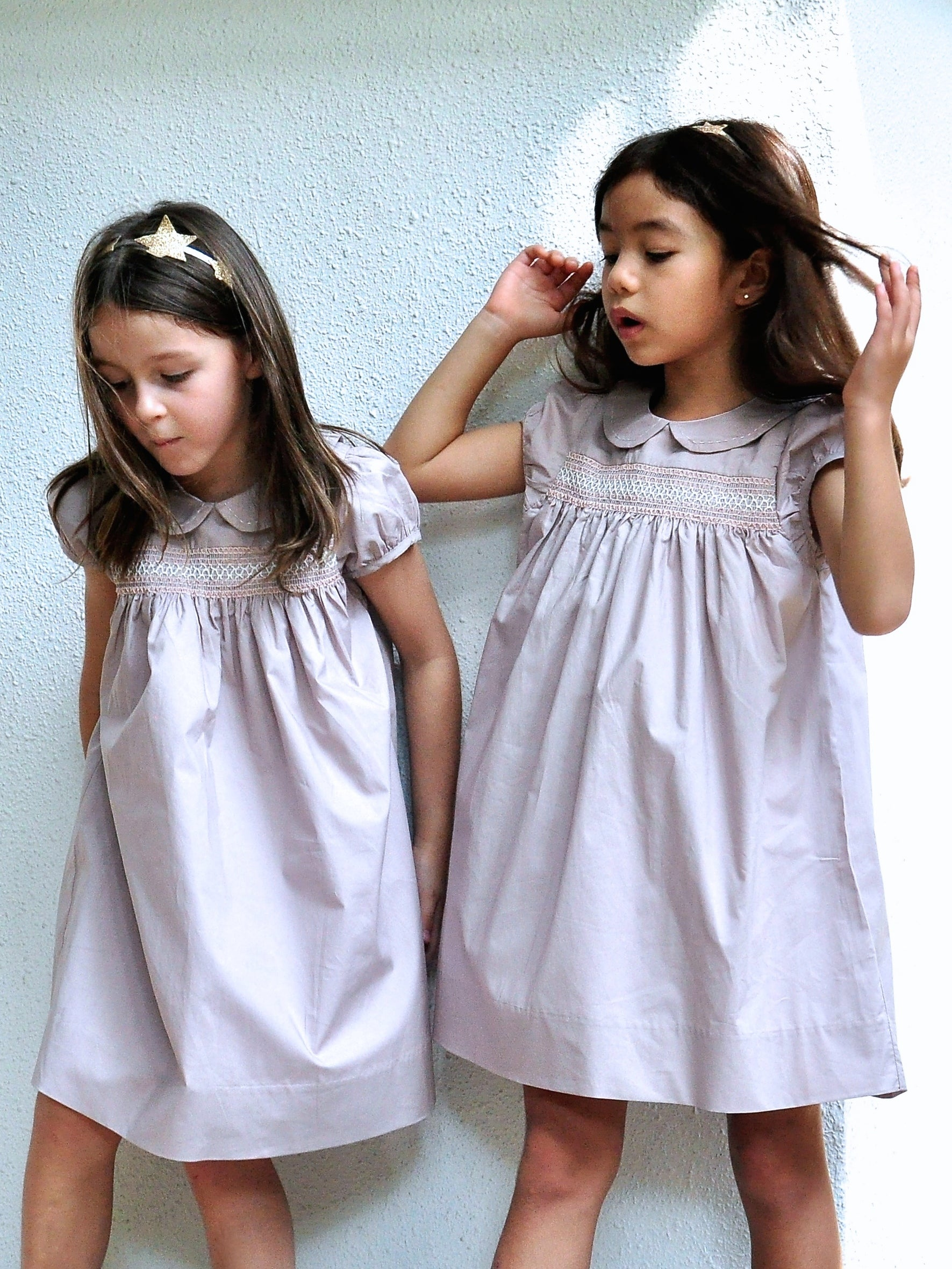 Pastel Pink Smock Cotton Dress - vsolochildren