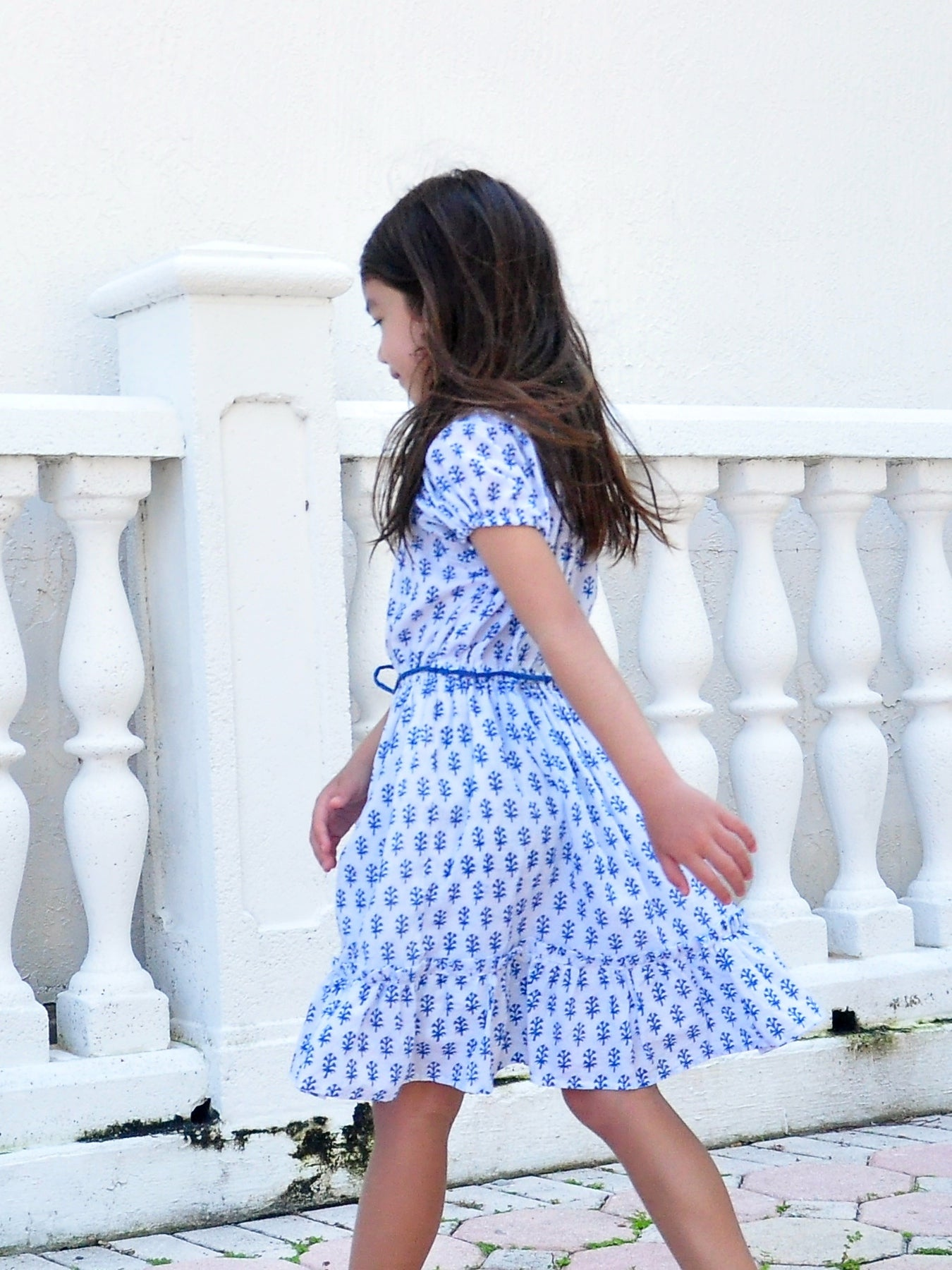 Blue Block Print Dress - vsolochildren