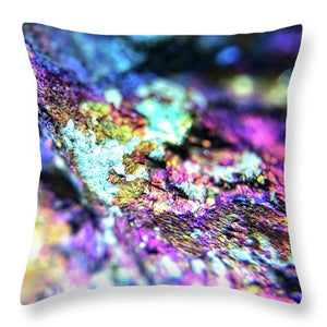 Crystals And Stones Peacock Ore 8982 - Throw Pillow - Jani Bryson Intuitive Photographer