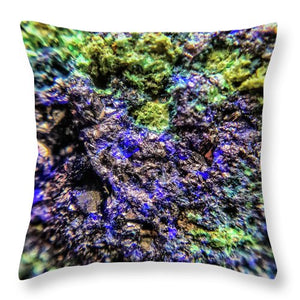 Crystals And Stones Azurite And Malachite 3231 - Throw Pillow - Jani Bryson Intuitive Photographer