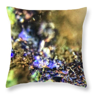 Crystals And Stones Azurite And Malachite 3786 - Throw Pillow - Jani Bryson Intuitive Photographer