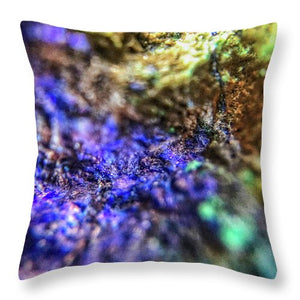 Crystals And Stones Azurite And Malachite 4003 - Throw Pillow - Jani Bryson Intuitive Photographer