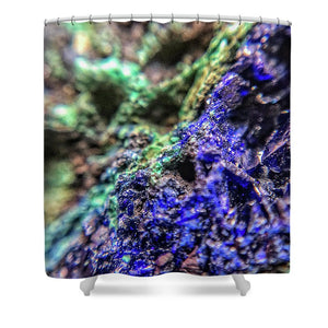 Crystals And Stones Azurite And Malachite - Shower Curtain - Jani Bryson Intuitive Photographer
