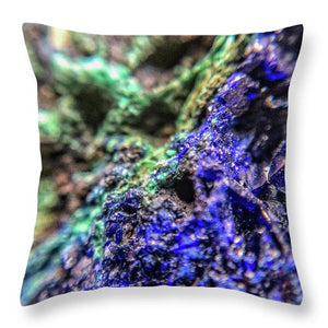 Crystals And Stones Azurite And Malachite - Throw Pillow - Jani Bryson Intuitive Photographer