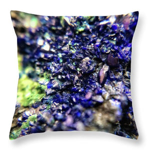 Crystals And Stones Azurite Malachite 3210 - Throw Pillow - Jani Bryson Intuitive Photographer