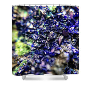 Crystals And Stones Azurite Malachite 3210 - Shower Curtain - Jani Bryson Intuitive Photographer