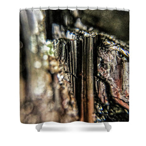 Crystals And Stones Black Tourmaline 1540 - Shower Curtain - Jani Bryson Intuitive Photographer
