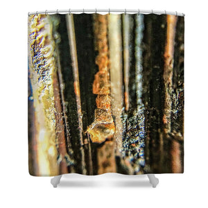 Crystals And Stones Black Tourmaline 1550 - Shower Curtain - Jani Bryson Intuitive Photographer