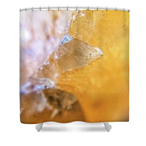 Crystals And Stones Honey Calcite 2162 - Shower Curtain - Jani Bryson Intuitive Photographer