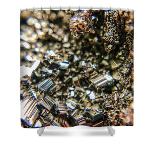 Crystals And Stones Pyrite 3971 - Shower Curtain - Jani Bryson Intuitive Photographer