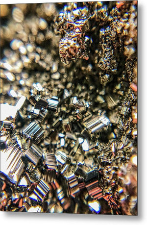 Crystals And Stones Pyrite 3971 - Metal Print - Jani Bryson Intuitive Photographer