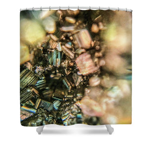 Crystals And Stones Pyrite 4045 - Shower Curtain - Jani Bryson Intuitive Photographer