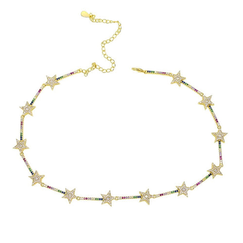 Rainbow Stars Choker Necklace