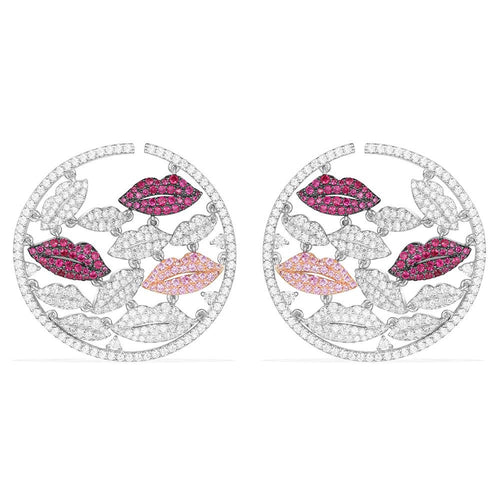 Lips Round Earrings/Platinum Plated