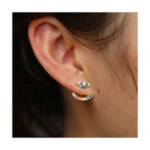 Rainbow Evil Eye Ear Jacket Earrings