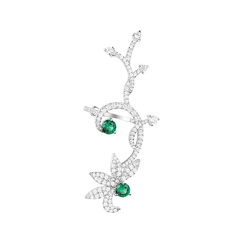 Green Butterfly Single Earcuff Earring/S925