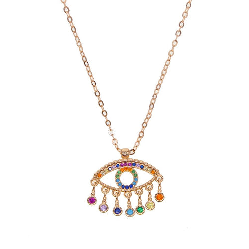 Rainbow Evil Eye Pendant Necklace
