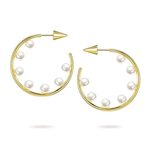 Gold Spike Pearl Hoop Earrings