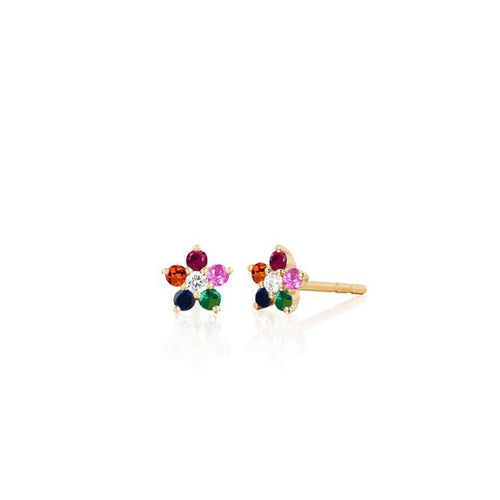 Rainbow Flower Stud Earrings/S925