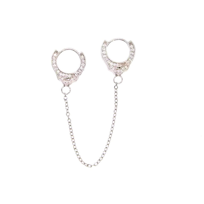 Handcuff Double Hole Drop Earrings