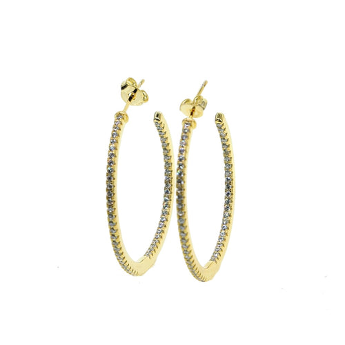 Stone Hoop Earrings/Small-Large