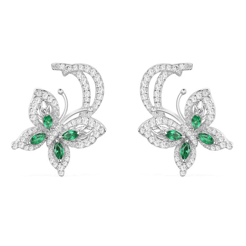 Green Butterfly Stud Earrings/925S