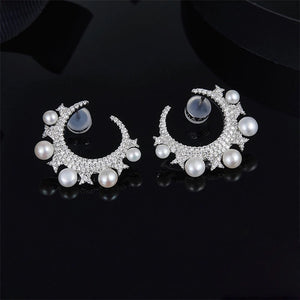 Pearl Moon Earrings/S925