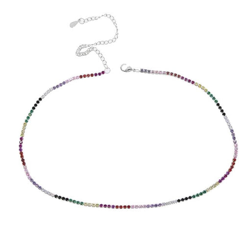 Rainbow Tennis Necklace/Platinum Plated
